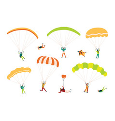 Collection of parachutists and skydivers isolated vector