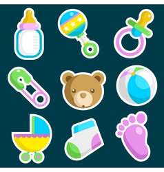 Colorful Baby Shower Icons vector image