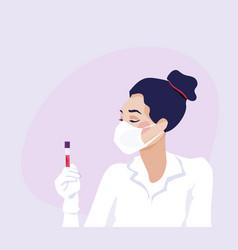 Coronavirus pandemic nurse in white face mask and vector