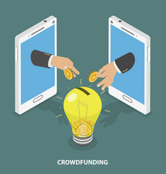 Crowdfunding flat isometric concept vector