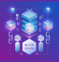Cryptocurrency and blockchain isometric concept vector
