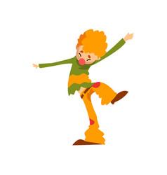 Cute clown cartoon character funny man performing vector