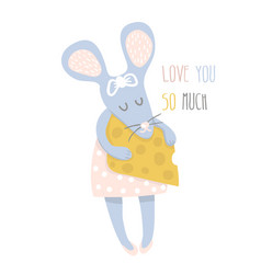 cute girl mouse with cheese hand drawn vector image