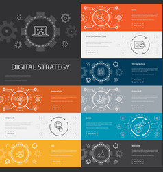 Digital strategy infographic 10 line icons banners vector