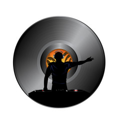 dj silhouette over vinyl record disc border vector image