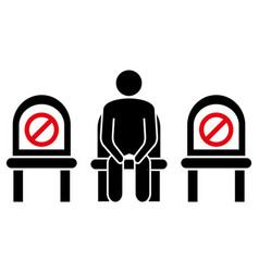 Do not sit here keep social distance to prevent vector