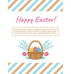 Easter card template with basket and eggs vector