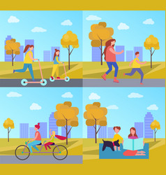 family activities in park vector image