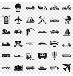 flying transport icons set simple style vector image