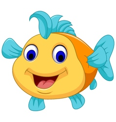 funny fish cartoon smiling vector image