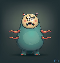 Funny many-eyed monster with tentacles image vector