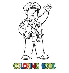 Funny policeman Coloring book vector
