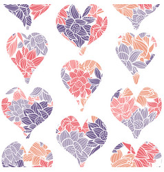 geometric seamless pattern of hearts embellished vector image