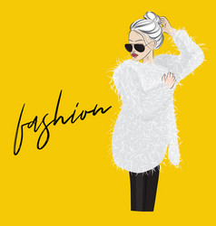 glamour woman in fur coat with sunglasses vector image