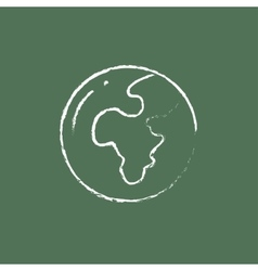 Globe icon drawn in chalk vector