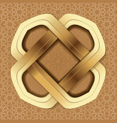 golden frame on a brown arabic background vector image