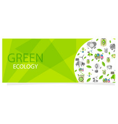 green ecology flyer with circle full of eco icons vector image