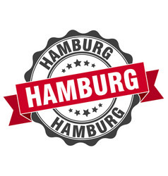 Hamburg round ribbon seal vector