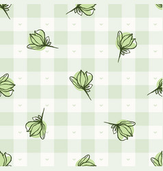 Hand drawn whimsical herb twig gingham seamless vector