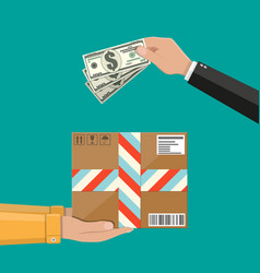 Hands with postal cardboard box and money vector