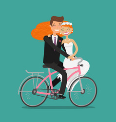Happy couple or newlyweds bride and groom ride vector