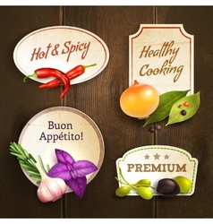 Herbs and spices badges set vector image