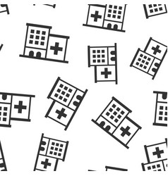 Hospital building icon seamless pattern vector