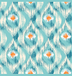 ikat pattern with peacock feathers vector image