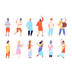 indian characters man dress isolated people wear vector image