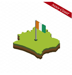Ivory coast isometric map and flag vector