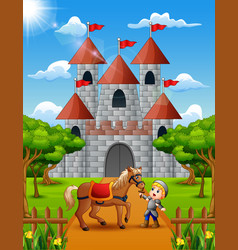 Little knight and horse in front of the castle vector