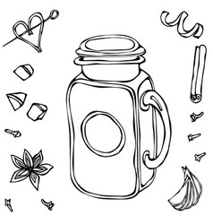 mason drinking jar vintage coctail glass hand vector image