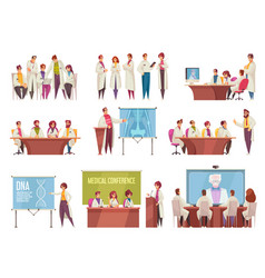 Medical conference icon set vector