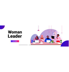 mix race businesswomen colleagues working together vector image