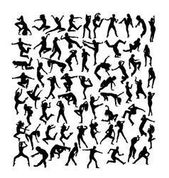 Modern dancing silhouettes vector