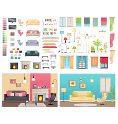 Modern interiors of different comfortable flats vector