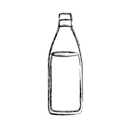 Monochrome sketch silhouette with bottle of water vector