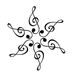 Musical note radial pattern on a white background vector