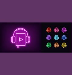 Neon audiobook icon glowing neon audio book sign vector