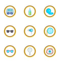 ophthalmology icons set cartoon style vector image