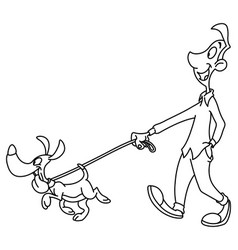 outlined man walking dog vector image