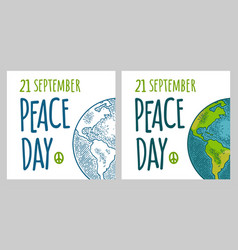 peace day 21 september lettering earth planet vector image