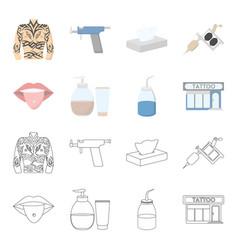 piercing in tongue gel sallon tattoo set vector image