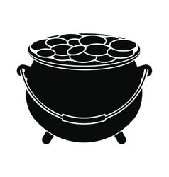 Pot full of coins icon vector