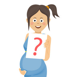 pregnant woman holding paper with question sign vector image