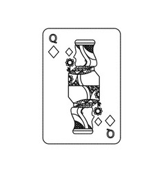 Queen of diamonds playing card casino poker vector