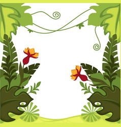 rainforest plants jungle leaves and flowers frame vector image