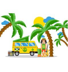rastafarian cartoon character on jamaica vector image