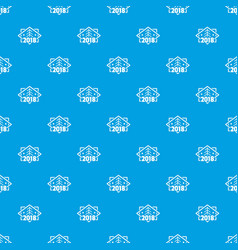 retro christmas tree pattern seamless blue vector image