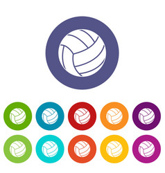 Rugby ball icons set flat vector